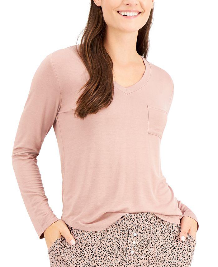 Alfani - Long-Sleeve Pocket Sleep T-Shirt