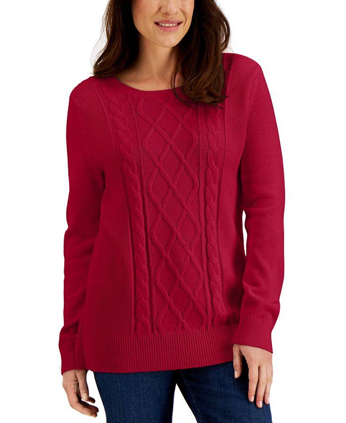 Karen Scott - Cable-Knit Sweater