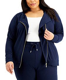 Michael Michael Kors Plus Size Asymmetrical Zip Hoodie