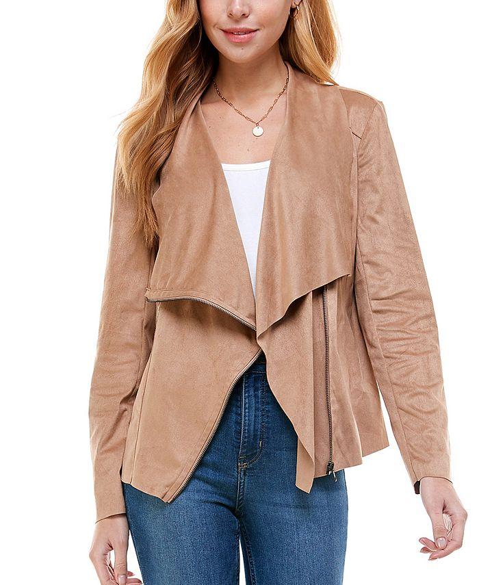 Kingston Grey - Juniors' Faux-Suede Asymmetrical Zip-Front Jacket