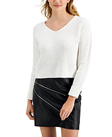 Bar III V-Neck Cuffed-Sleeve Sweater, Created for Macy's