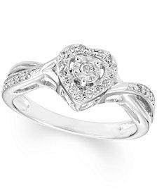 Diamond Heart Ring (1/8 ct. t.w.) In Sterling Silver
