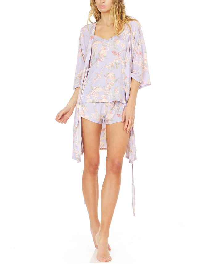 Flora by Flora Nikrooz - Kate Floral-Print Robe, Cami & Tap Shorts Travel Set