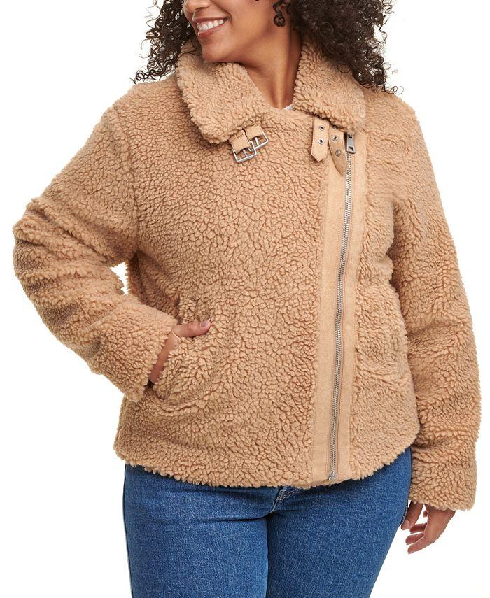Levi's - Plus Size Fleece Asymmetrical-Zip Moto Jacket