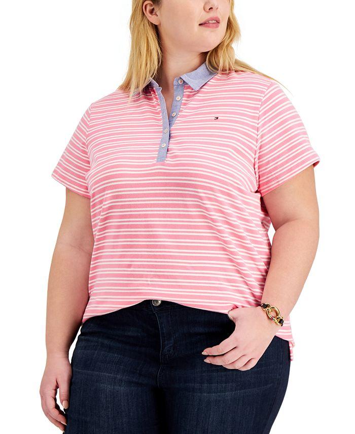 Plus Size Striped Polo Shirt