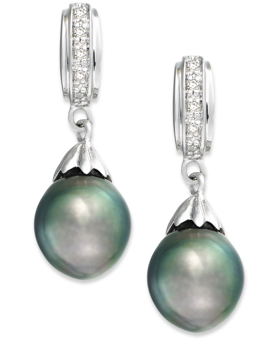 Cultured Tahitian Black Pearl (8mm) and Diamond Accent Drop Earrings in Sterling Silver   Earrings   Jewelry & Watches