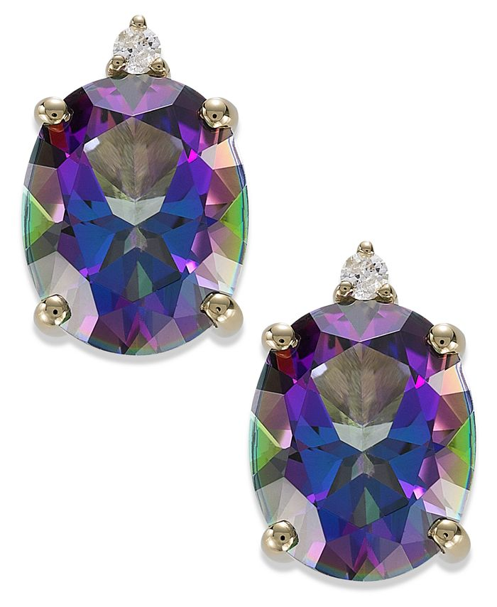 Macy's - 14k Gold Mystic Topaz (7 ct. t.w.) and Diamond Accent Oval Earrings