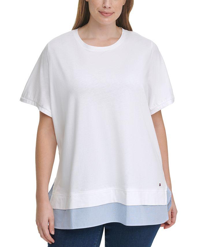 Tommy Hilfiger - Plus Size Woven-Hem T-Shirt