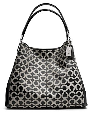 Coach Madison Small Phoebe Shoulder Bag In Op Art Sateen Fabric 70