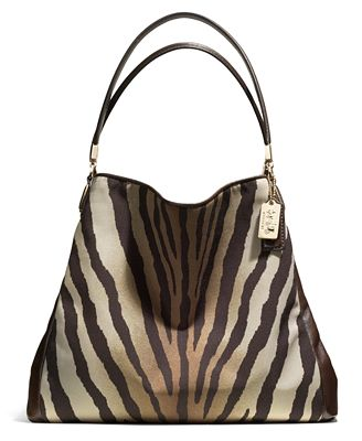 Coach Madison Small Phoebe Shoulder Bag In Zebra Print Fabric 65