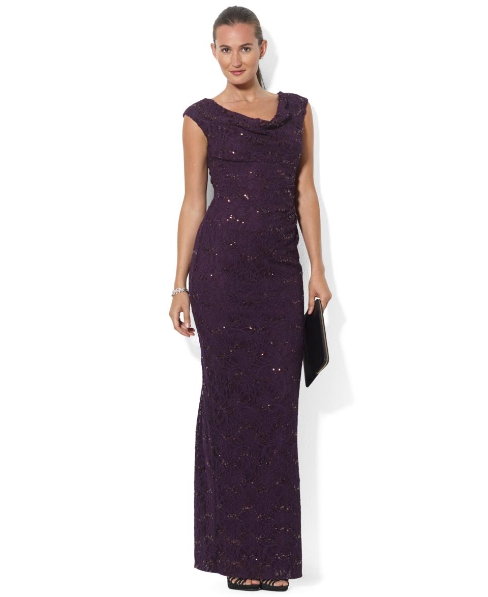 Lauren Ralph Lauren Petite Sleeveless Drape Neck Sequined Lace Gown   Dresses   Women
