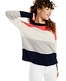 Charter Club Cashmere Colorblocked Oversized Pullover Sweater, Created for Macy's