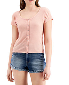 Crave Fame Juniors' Snap-Front Ribbed Top