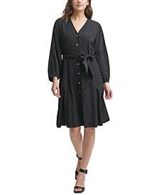 Calvin Klein Gauze V-Neck A-Line Dress