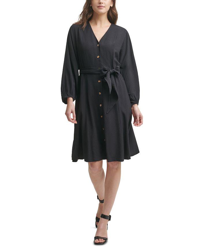 Calvin Klein - Gauze V-Neck A-Line Dress