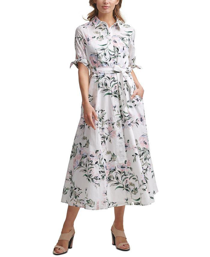 Calvin Klein - Cotton Floral-Print Shirtdress