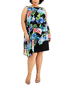 Connected Plus Size Floral-Print Chiffon Popover Dress