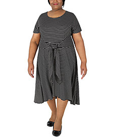 Robbie Bee Plus Size Striped Tie-Waist Fit & Flare Dress