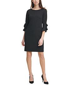 Karl Lagerfeld Paris Scuba Crepe 3/4-Ruffle-Sleeve Sheath Dress