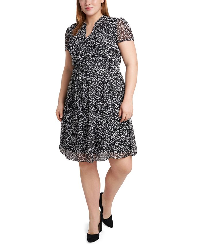 MSK - Plus Size Printed Pleated Chiffon Shirtdress