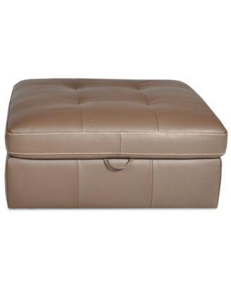 "Damon Leather Ottoman Storage 48""W x 36""D x 17""H"