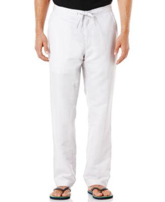 Cubavera Solid Linen Blend Drawstring Pants Pants Men