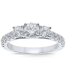 Diamond Three Stone Ring (1-1/2 ct. t.w.) in 10k Gold or White Gold