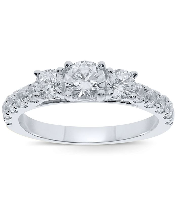 Macy's - Diamond Three Stone Ring (1-1/2 ct. t.w.) in 10k Gold or White Gold