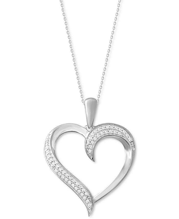 "Macy's - Diamond Swirl Heart 18"" Pendant Necklace (1/10 ct. t.w.) in 10k White Gold"