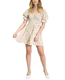 Kit & Sky Printed Smocked Fit & Flare Dress