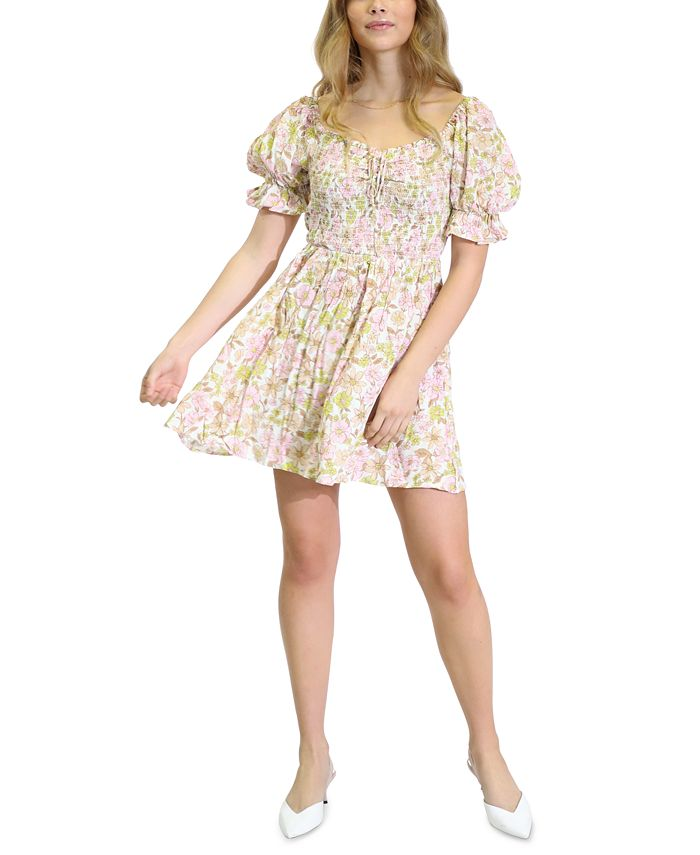 Kit & Sky - Printed Smocked Fit & Flare Dress