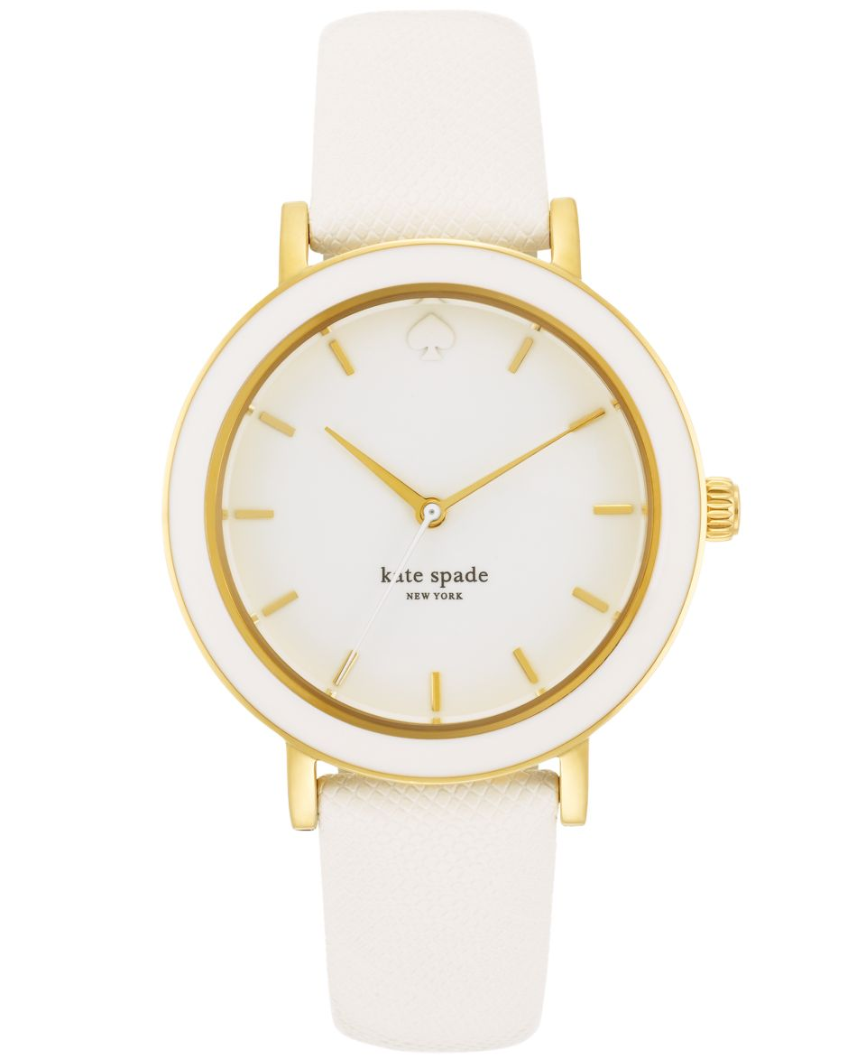 kate spade new york Watch, Womens Metro White Croc Embossed Leather Strap 34mm 1YRU0155   Women