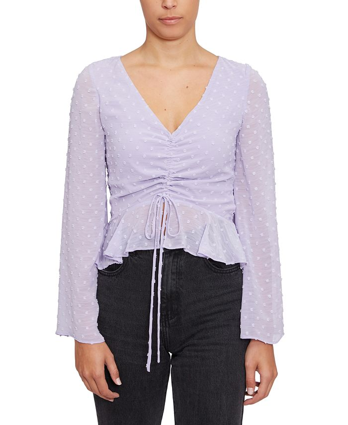 Lucy Paris - Drawstring-Front Crop Top