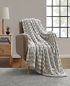 VCNY Home Jessica Carved Faux Fur Throw Blanket