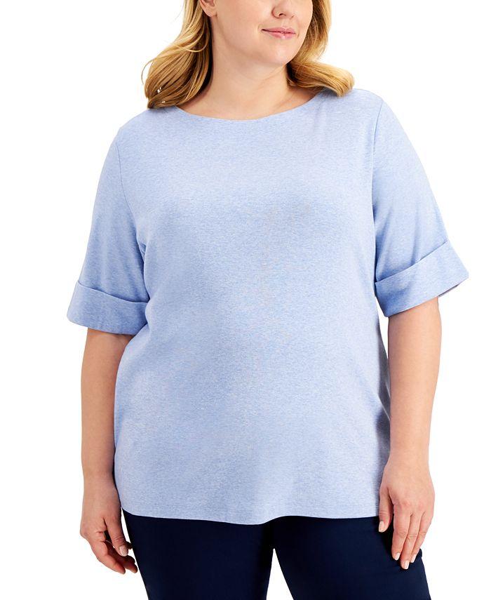 Karen Scott - Plus Size Cotton Elbow-Sleeve Top