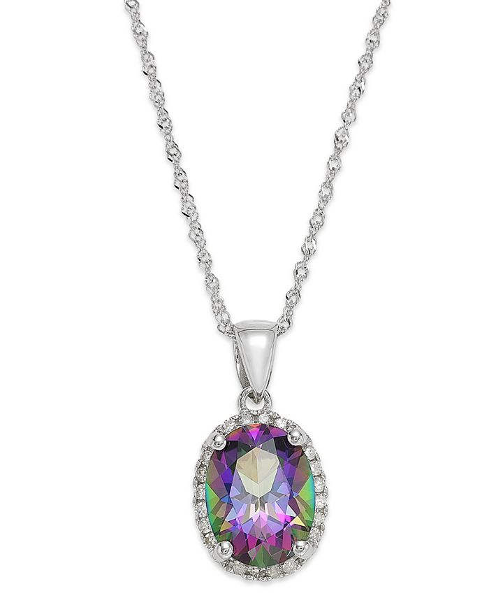Macy's - 14k White Gold Mystic Topaz (2 ct. t.w.) and Diamond Accent Pendant Necklace