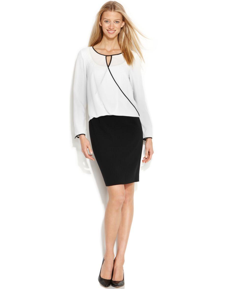 Calvin Klein Long Sleeve Colorblock Blouson Dress   Dresses   Women