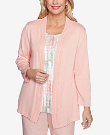 Plus Size Springtime in Paris Brushstrokes Inner Two for One Sweater