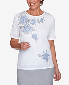Plus Size French Bistro Yoke Floral with Pointelle Sweater