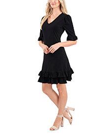 CeCe V-Neck Ruffled Dress