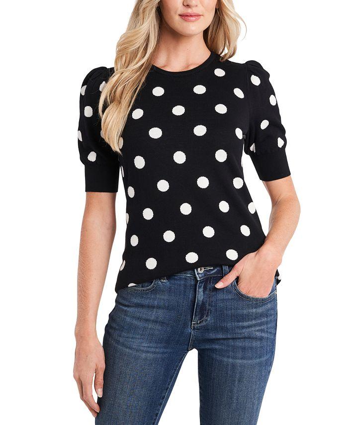 CeCe - Cotton Dot-Print Puff-Sleeve Sweater
