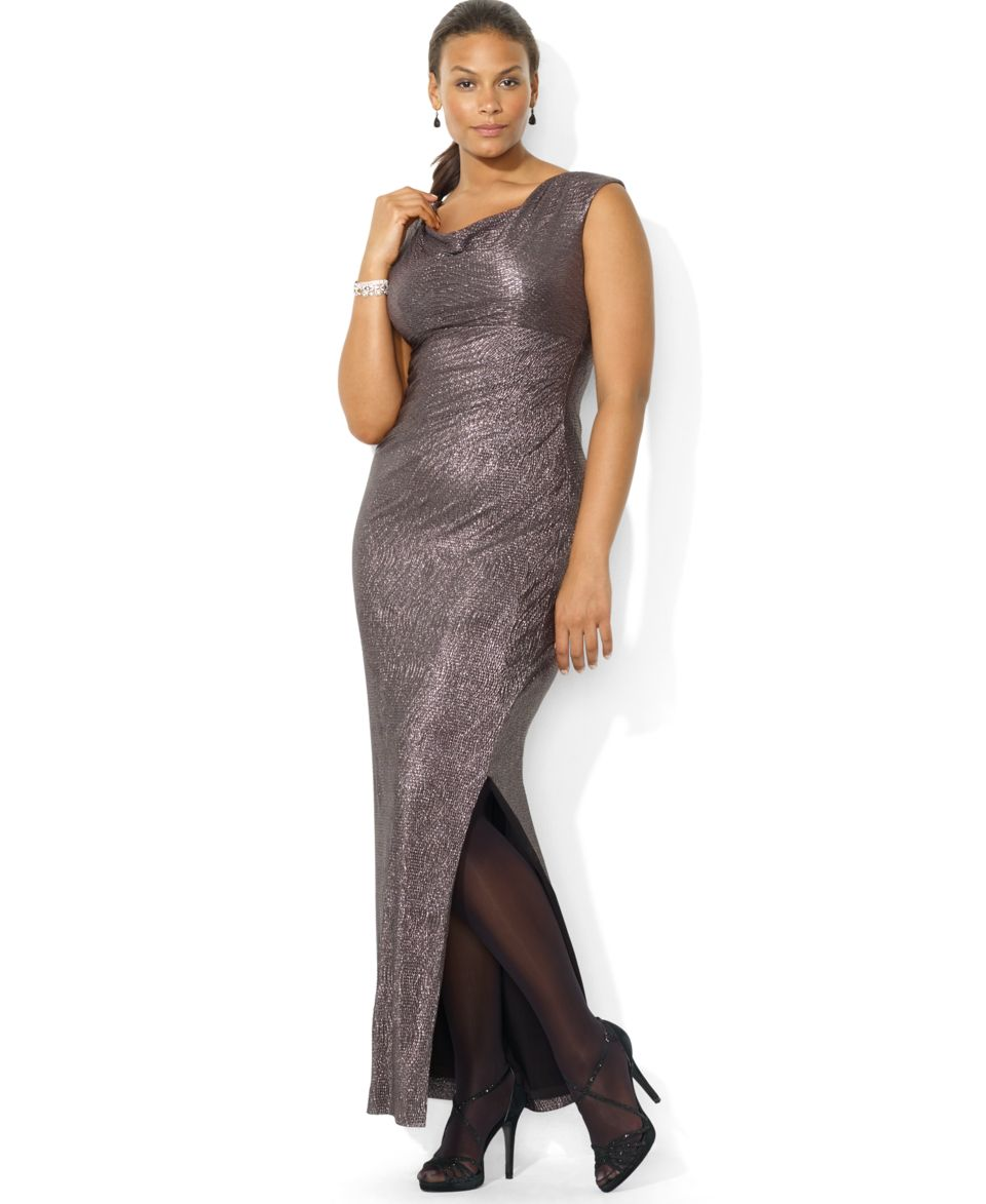 Lauren Ralph Lauren Plus Size Cap Sleeve Metallic Drape Neck ...