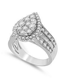 Diamond Pear-Shape Cluster Ring (2 ct. t.w.) in 14k White Gold