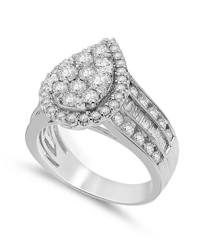 Macy's - Diamond Pear-Shape Cluster Ring (2 ct. t.w.) in 14k White Gold