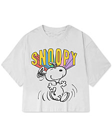 Peanuts Juniors' Snoopy-Graphic Cropped T-Shirt