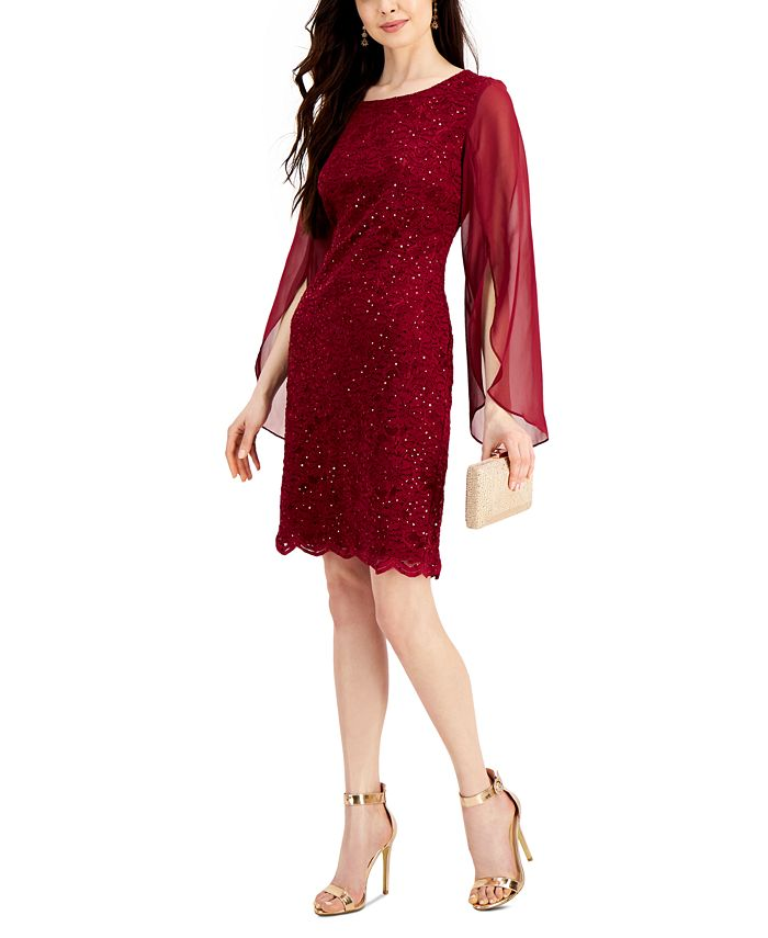 Connected - Flutter-Sleeve Sequined Lace Dress