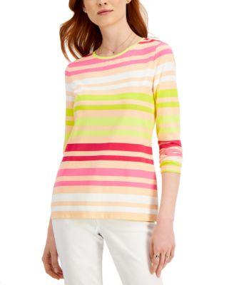 ihocon: Style & Co Striped Long-Sleeve Top 女士上衣
