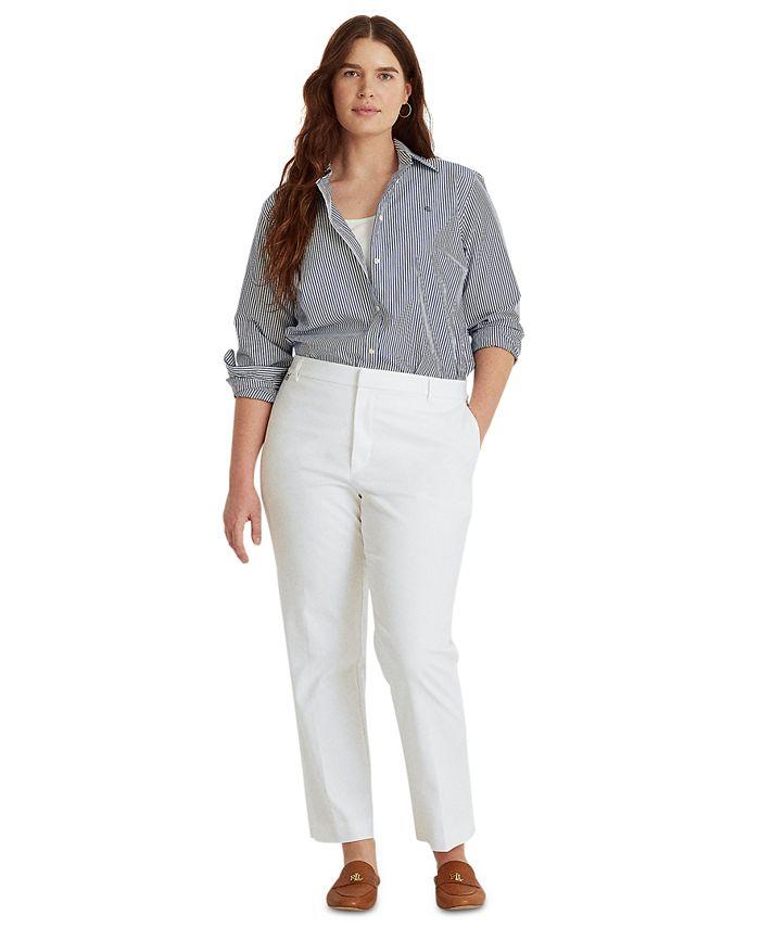 Lauren Ralph Lauren - Plus Size Stretch Cotton Cropped Pants