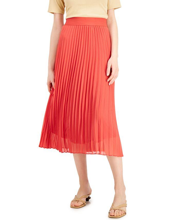 Alfani - Petite Knife Pleat Midi Skirt, Created For Macy's