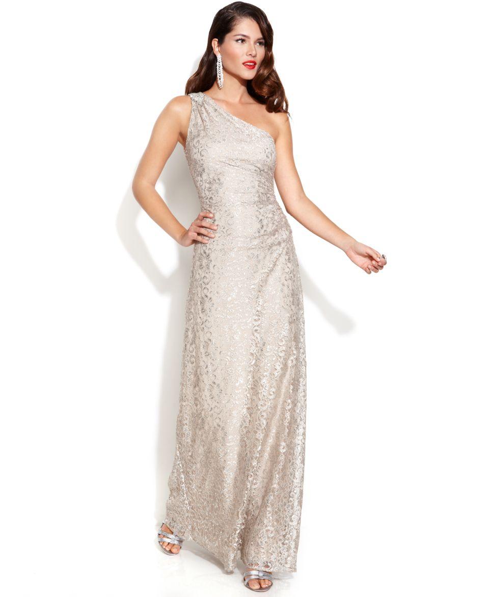 Calvin Klein One Shoulder Metallic Lace Gown   Dresses   Women